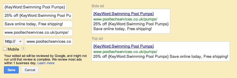 Google Advert Variation
