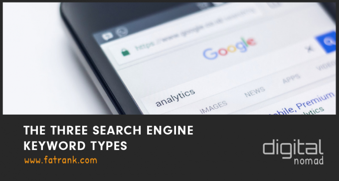 the three search engine keyword types