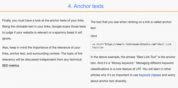 Anchor Text by LinkResearchTools