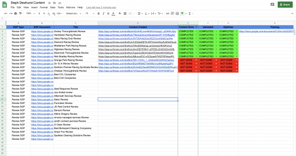 Ordering Content Google Sheet