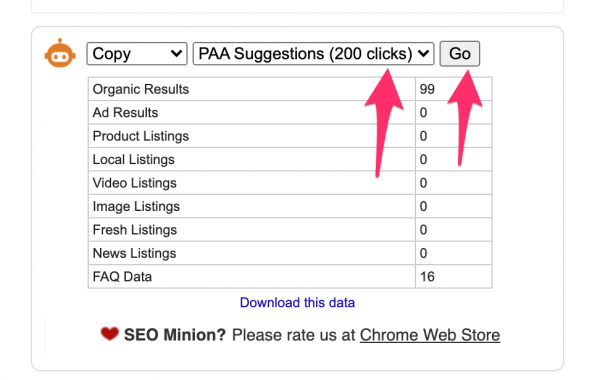 SEO Minion PAA Extraction